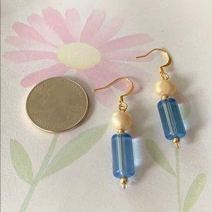 NWT fresh water pearl glass bead dangle earrings